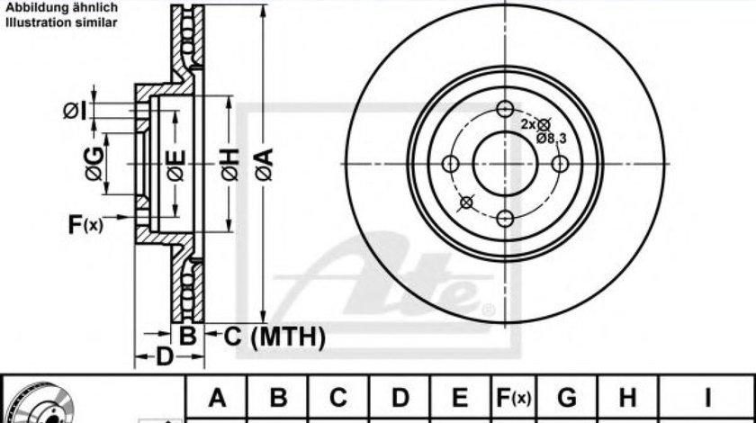 Disc frana FIAT LINEA (323) (2007 - 2016) ATE 24.0122-0147.1 produs NOU