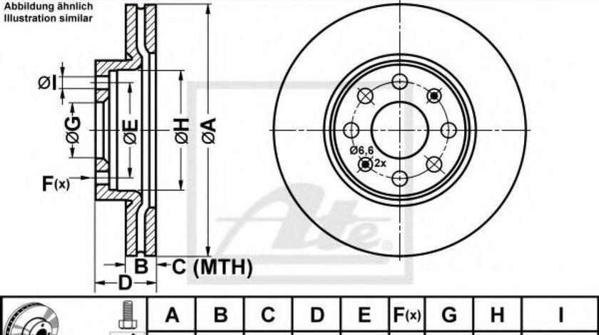 Disc frana FIAT PUNTO (199) (2012 - 2016) ATE 24.0122-0231.1 produs NOU