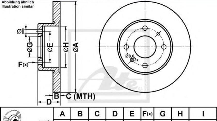 Disc frana FIAT PUNTO Van (188AX) (2000 - 2009) ATE 24.0111-0119.1 - produs NOU