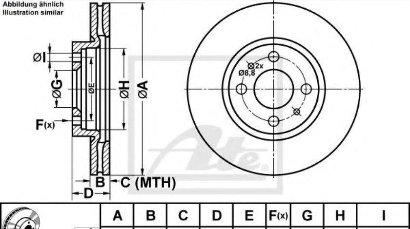 Disc frana FIAT QUBO (225) (2008 - 2016) ATE 24.0122-0197.1 produs NOU
