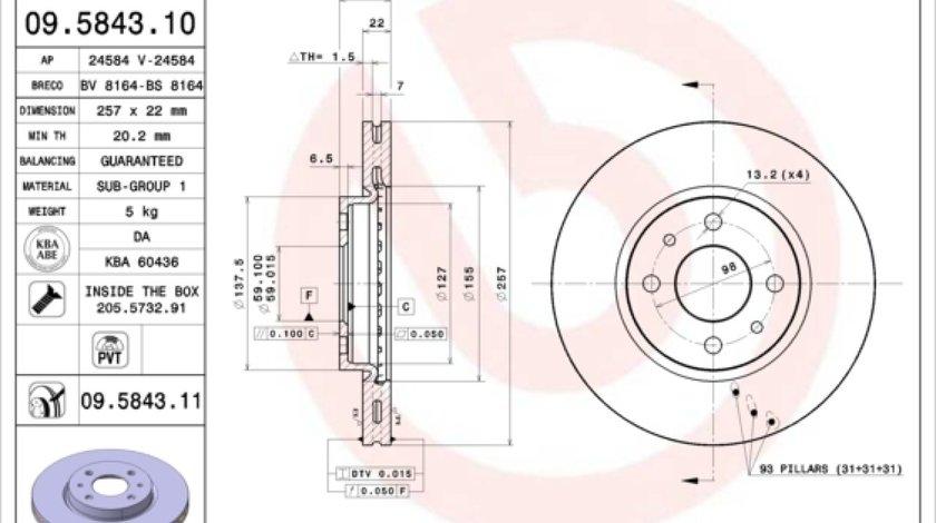 Disc frana FIAT STILO Multi Wagon 192 Producator BREMBO 09.5843.11