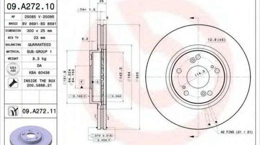 Disc frana HONDA ACCORD VII (CL) (2003 - 2008) BREMBO 09.A272.10 - produs NOU