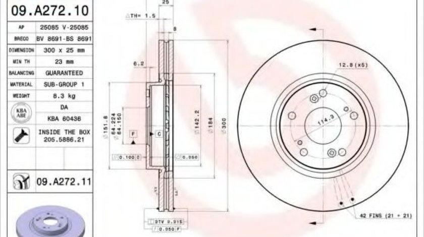 Disc frana HONDA ACCORD VII (CM) (2002 - 2008) BREMBO 09.A272.10 - produs NOU