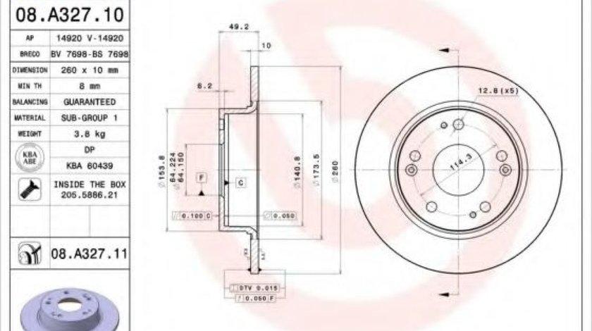 Disc frana HONDA ACCORD VII (CM) (2002 - 2008) BREMBO 08.A327.10 - produs NOU