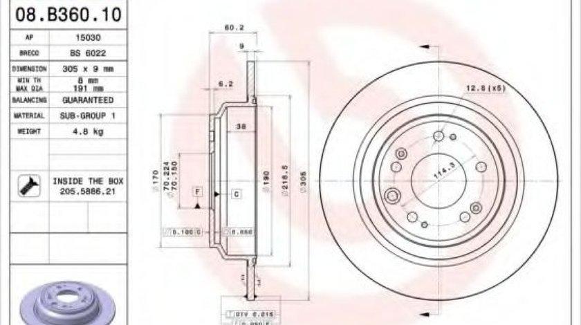 Disc frana HONDA ACCORD VIII (CU) (2008 - 2016) BREMBO 08.B360.10 - produs NOU