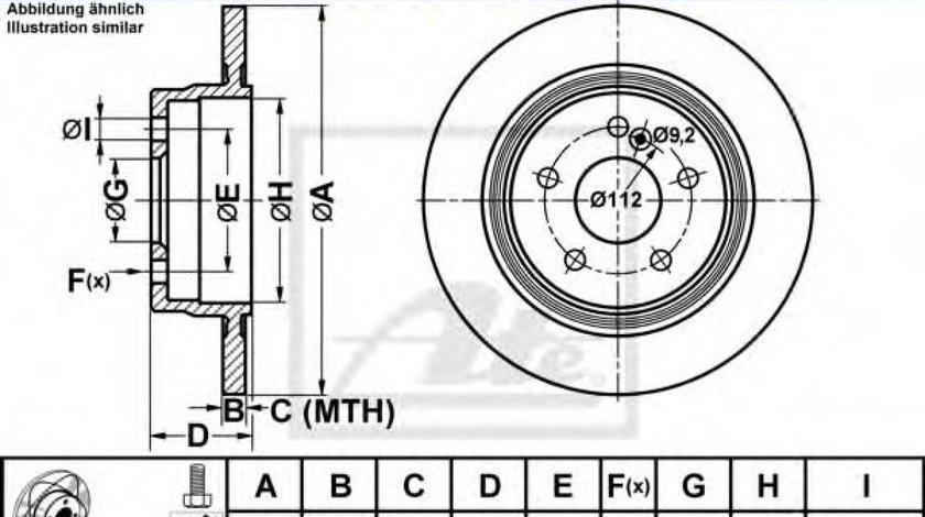 Disc frana MERCEDES C-CLASS (W204) (2007 - 2014) ATE 24.0310-0328.1 piesa NOUA