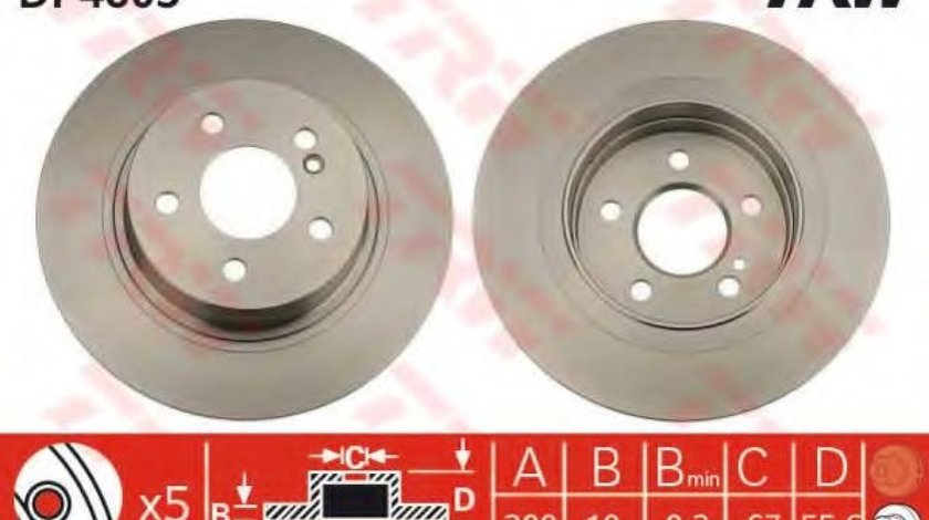 Disc frana MERCEDES C-CLASS (W204) (2007 - 2014) TRW DF4805 produs NOU