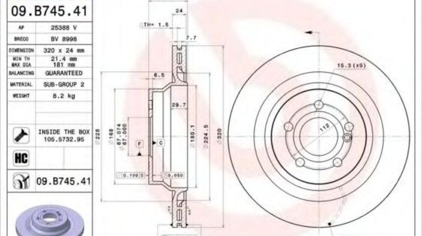 Disc frana MERCEDES E-CLASS (W212) (2009 - 2016) BREMBO 09.B745.41 piesa NOUA