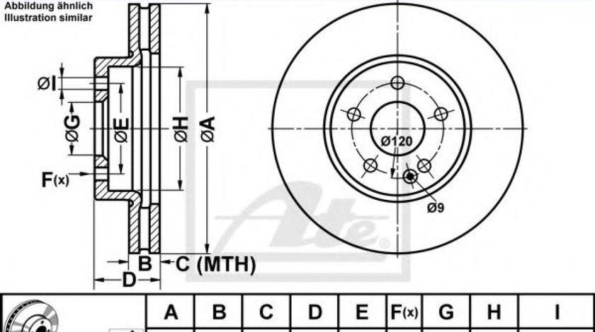 Disc frana MERCEDES VITO caroserie (W447) (2014 - 2016) ATE 24.0128-0145.1 produs NOU