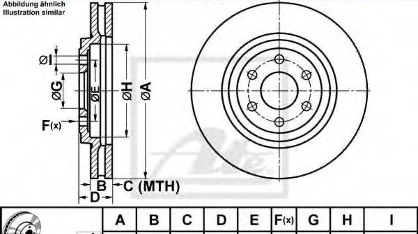 Disc frana NISSAN PATHFINDER III (R51) (2005 - 2012) ATE 24.0128-0240.1 - produs NOU