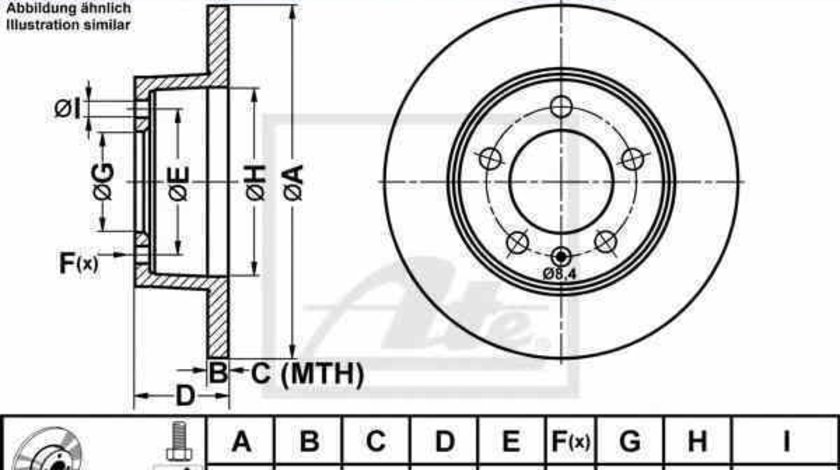 Disc frana OPEL MOVANO autobasculanta H9 ATE 24.0112-0155.1
