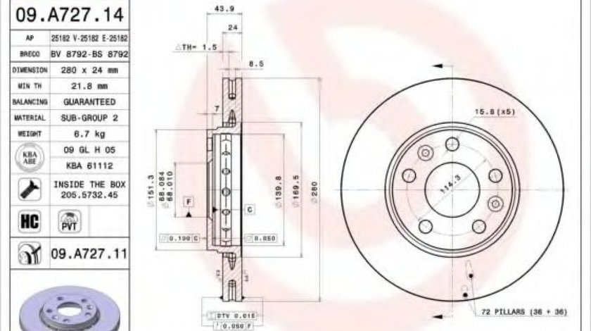 Disc frana RENAULT MEGANE IV (2015 - 2016) BREMBO 09.A727.14 - produs NOU