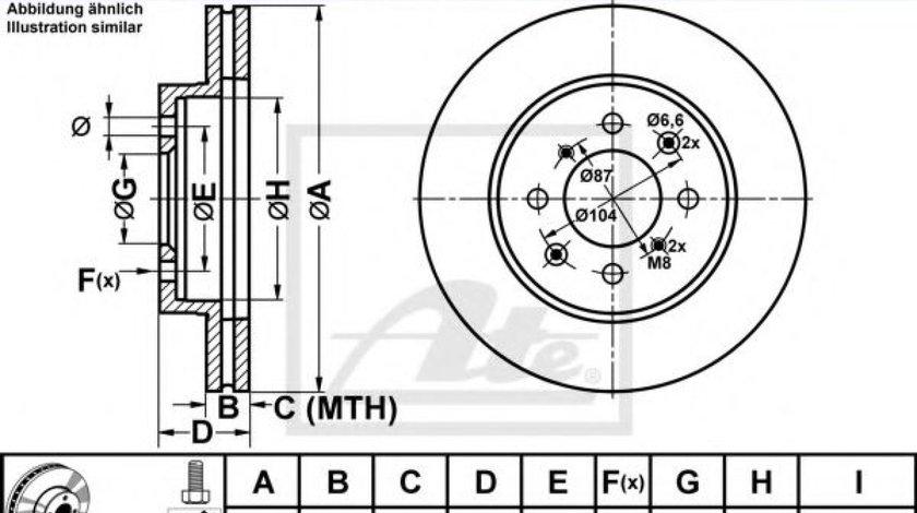 Disc frana ROVER 45 (RT) (2000 - 2005) ATE 24.0121-0105.1 - produs NOU