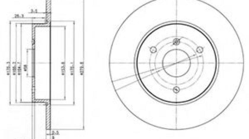 Disc frana SMART CITY-COUPE (450) (1998 - 2004) DELPHI BG3526 piesa NOUA