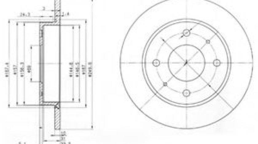 Disc frana SMART FORFOUR (454) (2004 - 2006) DELPHI BG3971 piesa NOUA