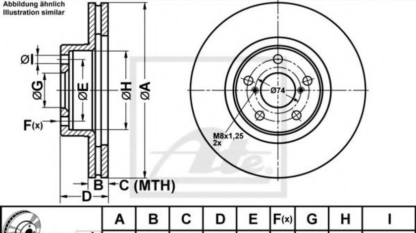 Disc frana SUBARU LEGACY V (BM, BR) (2009 - 2016) ATE 24.0124-0145.1 - produs NOU