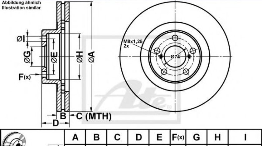 Disc frana SUBARU OUTBACK (BM, BR) (2009 - 2014) ATE 24.0124-0196.1 - produs NOU