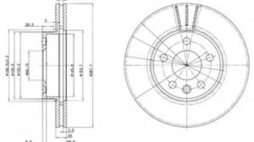 Disc frana VW SHARAN (7M8, 7M9, 7M6) (1995 - 2010) DELPHI BG3025 piesa NOUA