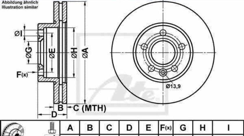 Disc frana VW SHARAN 7M8 7M9 7M6 ATE 24.0125-0114.1