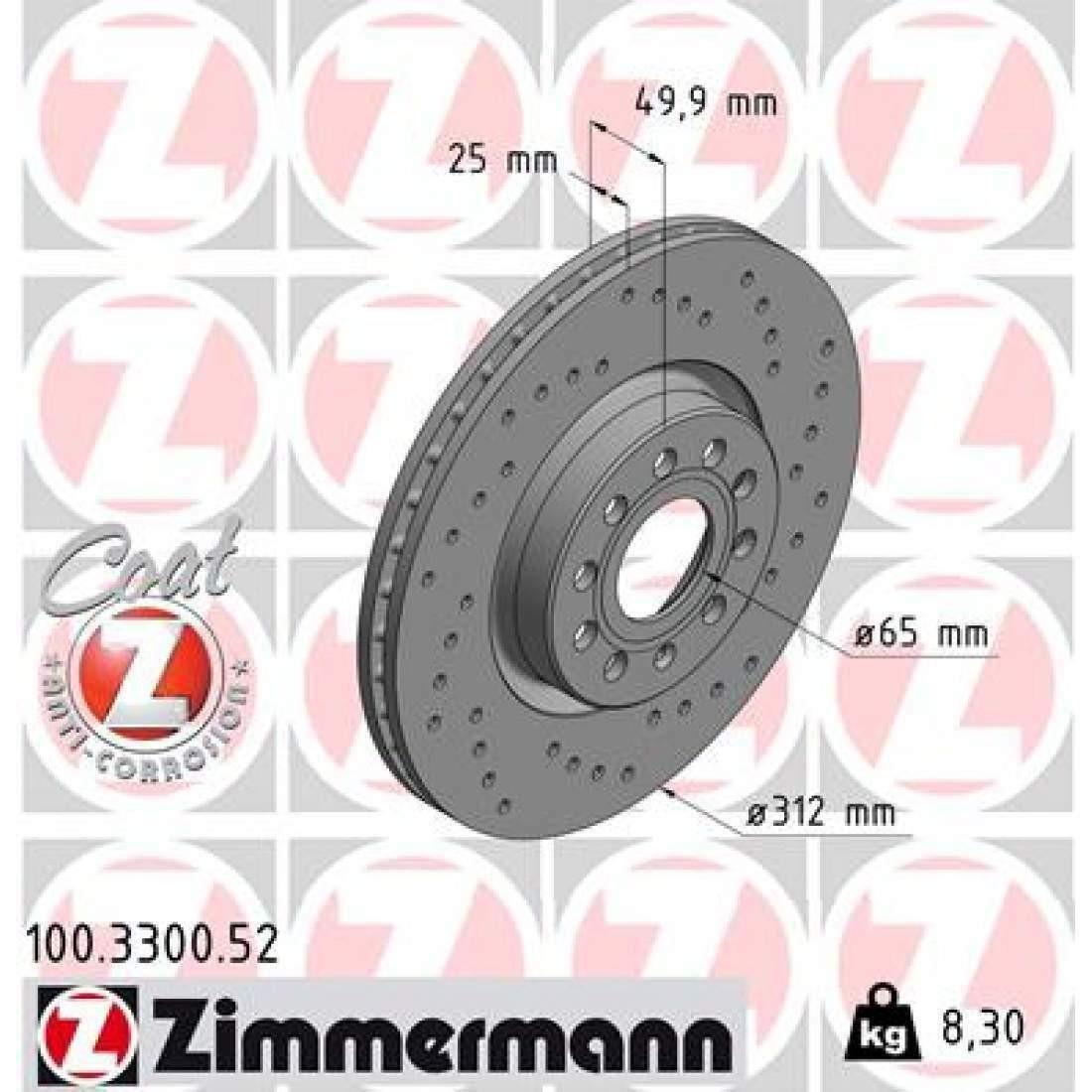Discuri frana Zimmermann Audi VW Seat Skoda 100.3300.52