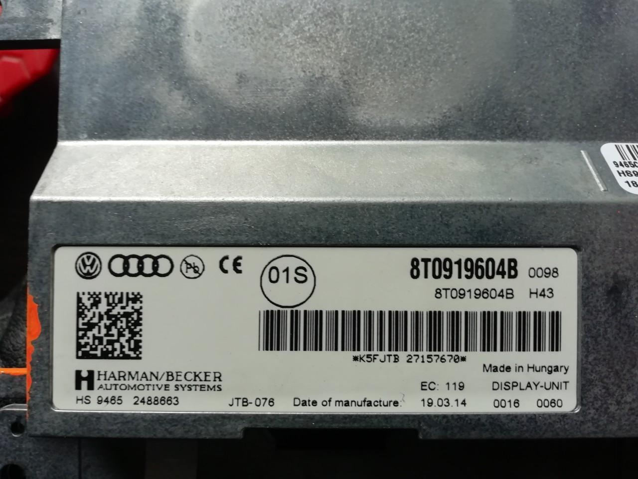 Display navigatie / multimedia Audi A4 B8 8K cod: 8T0919604B model 2012