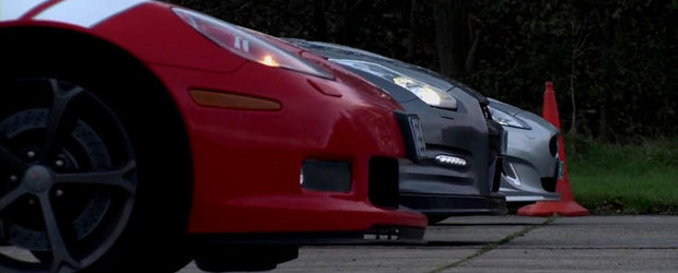 Drag Race: Chevrolet Corvette Grand Sport vs. Nissan GT-R vs. Jaguar XKR