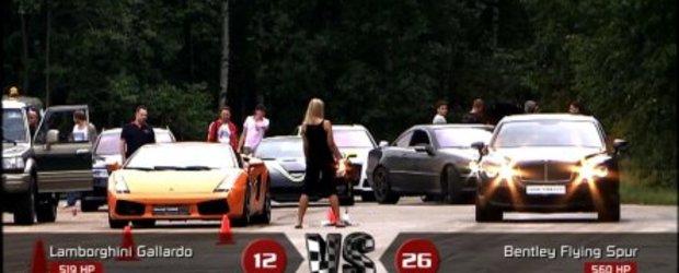 Drag Race: Lambo Gallardo vs. Bentley Conti Flying Spur