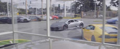 Drift-uri cu un Lamborghini Huracan printre masini de sute de mii de euro. Nu vei ghici cine este la volan
