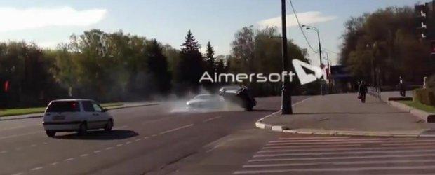 Drifturi cu Audi R8 + accident cu Lada + fuga de la fata locului. Cu drag, din Rusia!