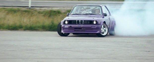 Drifturi cu un BMW E30 dotat cu motor V8 si turbina in portbagaj