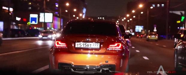 Drifturi ilegale in miez de noapte prin Rusia cu un BMW 1M - distractia perfecta!