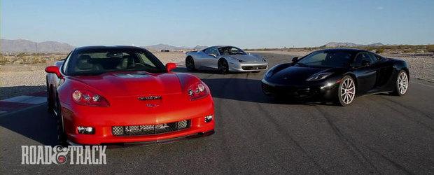 Duel in opt cilindri: Ferrari 458 Italia versus McLaren MP4-12C versus Corvette ZR1