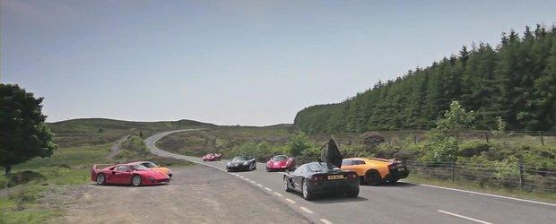 Duel memorabil intre McLaren F1, Ferrari F40 & F50, Carrera GT, Zonda F si Lambo LP670-4 SV