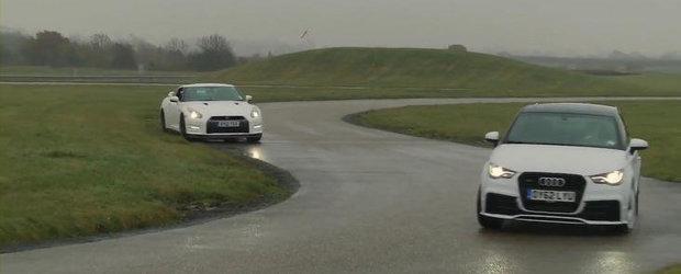 Duel pe circuit si ploaie: Audi A1 Quattro versus Nissan GT-R