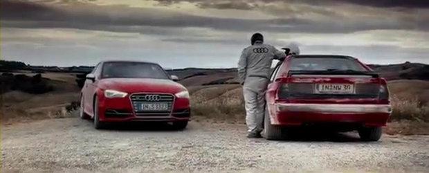 Duel pe pista de raliuri: Audi S3 versus Audi Sport Quattro