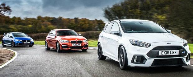 Duelul dintre aceste trei hot-hatch-uri ne arata diferenta de performanta dintre FWD, RWD si AWD