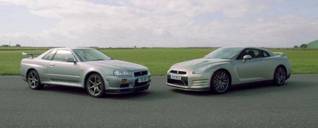 Duelul dintre Nissan GT-R R34 si GT-R R35 ne arata ce inseamna 15 ani de evolutie