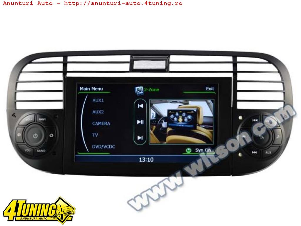 DVD AUTO Navigatie Dedicata Fiat 500 Witson W2 C315 Platforma S100 Procesor Dual Core A8 1ghz 512 Ddr 2 Dvd Gps Tv Dvr Carkit Preluare Agenda Telefonica Model 2014
