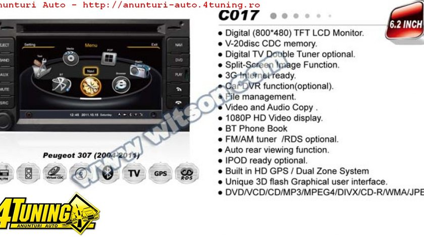 DVD AUTO NAVIGATIE WITSON W2 C017 DEDICATA PEUGEOT 307 3008 PLATFORMA S100 PROCESOR DUAL CORE A8 1GHZ 512 DDR 2 DVD GPS TV DVR CARKIT PRELUARE AGENDA TELEFONICA MODEL 2014