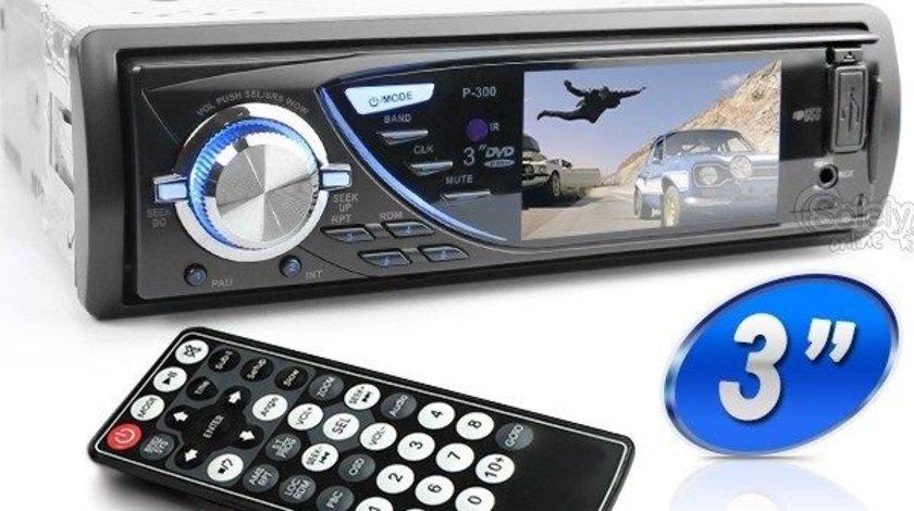 Dvd Player Auto 1DIN Universal Ecran 3'' Fata Detasabila USB SD DIVX 2 Iesiri Video Model P-300