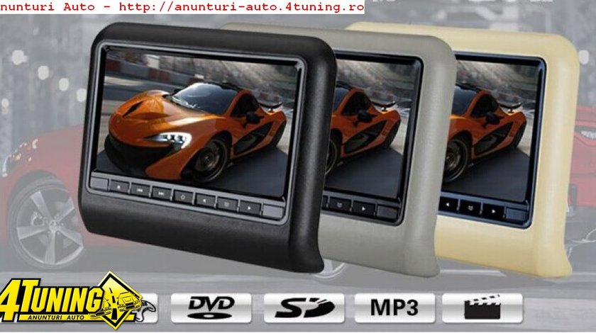 Dvd Player Auto Cu Prindere Pe Tetiera Jvj Dv 9917 Gri Lcd 9 Inch Hdmi Usb Sd Player