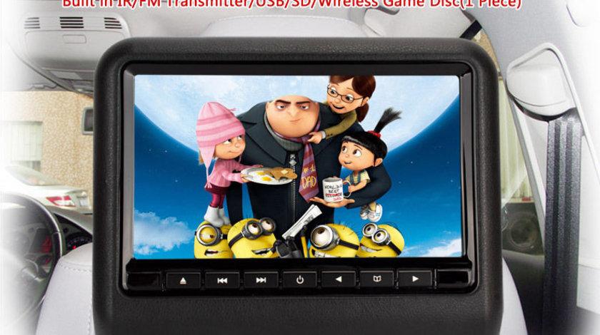 DVD PLAYER AUTO DE TETIERA CAR-VISION TMD-001 NEGRU LED 9'' USB SD PLAYER REZOLUTIE HD JOCURI