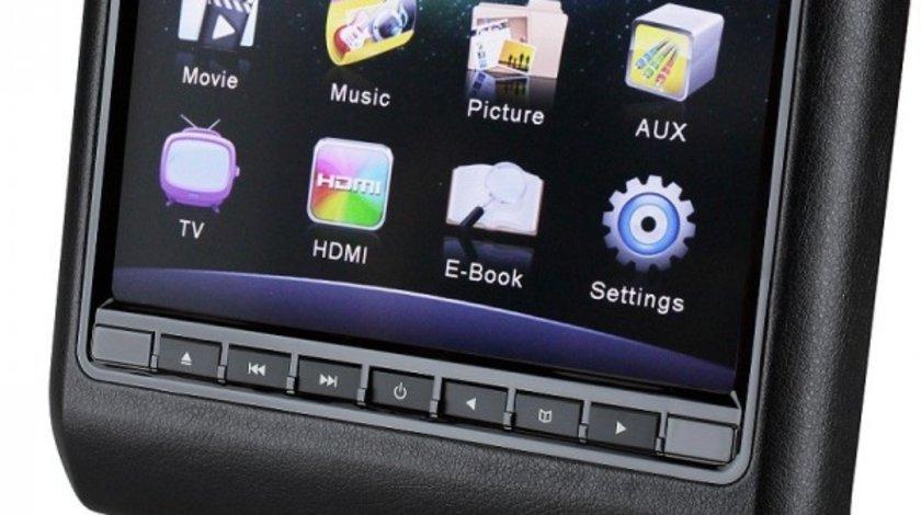 DVD PLAYER AUTO DE TETIERA NEGRU EDOTEC EDT 911 LCD 9'' USB / SD PLAYER REZOLUTIE HD JOCURI JOYSTICK
