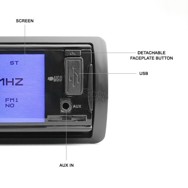 Dvd Player Auto Universal Ecran 3'' Fata Detasabila USB SD DIVX 2 Iesiri Video Model P-300