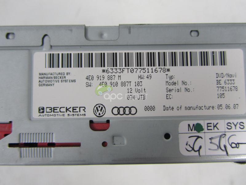 Dvd player Navigatie Audi A4 8K A5 8T cod 4E0919887M - 4E0910887T