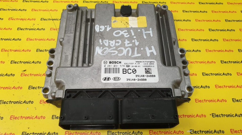 ECU Calculator Motor Hyundai Tucson 1.7CRDi/ I30 1.6CRDi, 0281031578, 39140-2ABB0, EDC17C57