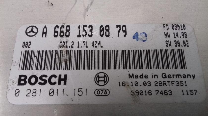 ECU Calculator Motor Mercedes A170 1.7 CDI, 0281011151, A6681530879