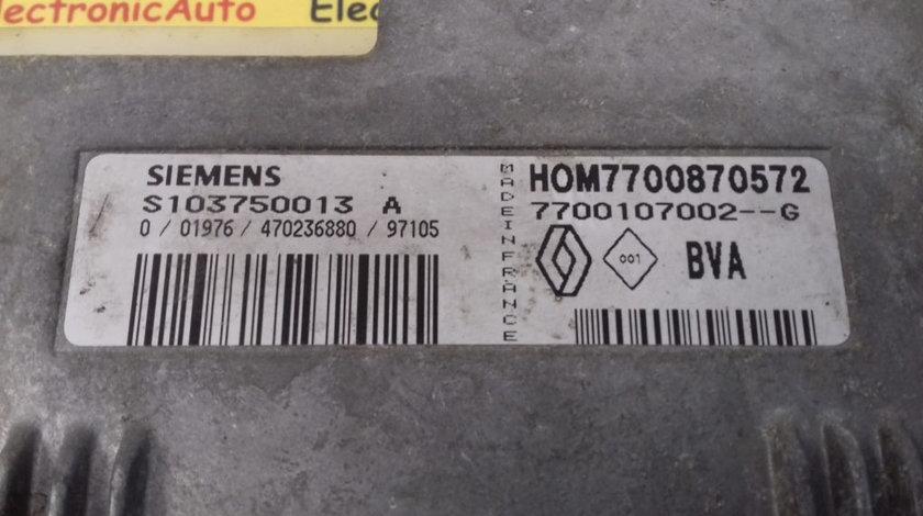 ECU Calculator Motor Renault Megane 1.6, S103750013A, HOM7700870572, 7700107002G