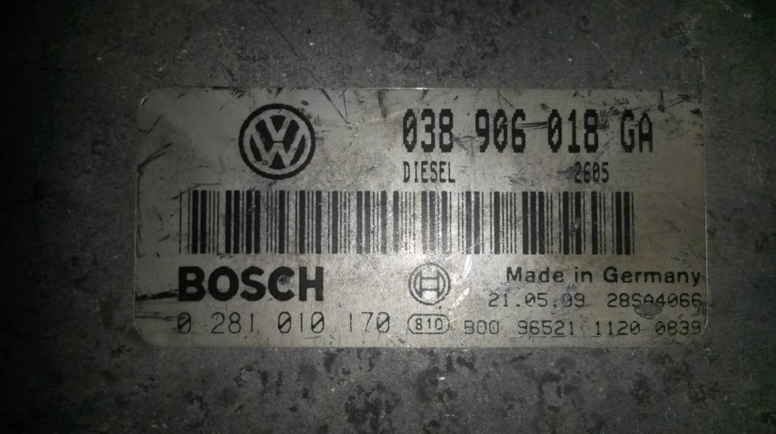 ECU Calculator motor VW Passat 1.9TDI 0281010170 EDC15V AFN