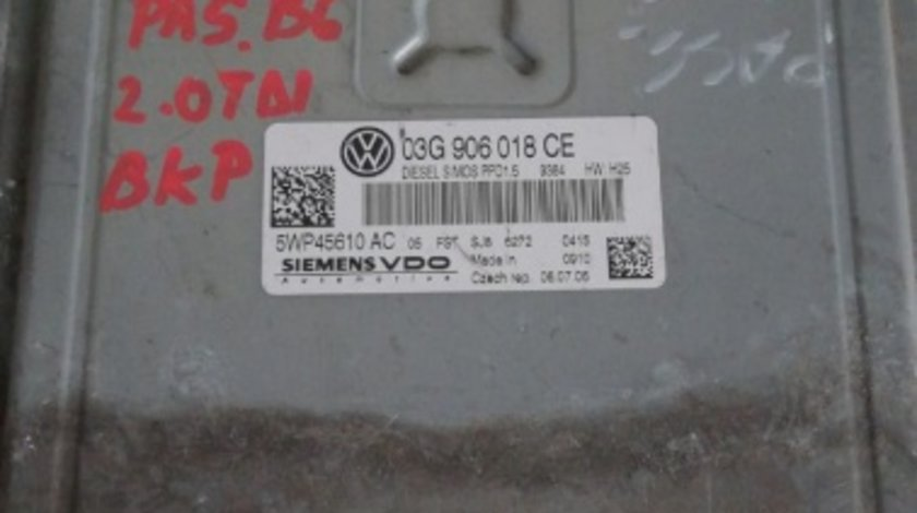 ECU calculator motor VW Passat B6 2.0 TDI BKP cod 03G906018CE